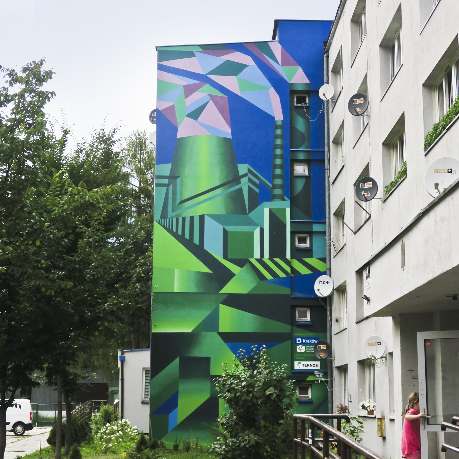 """Mural """"Kompozycja kubihutyczna"""", abstrakcyjny, geometryczny pejzaż Nowej Huty"""