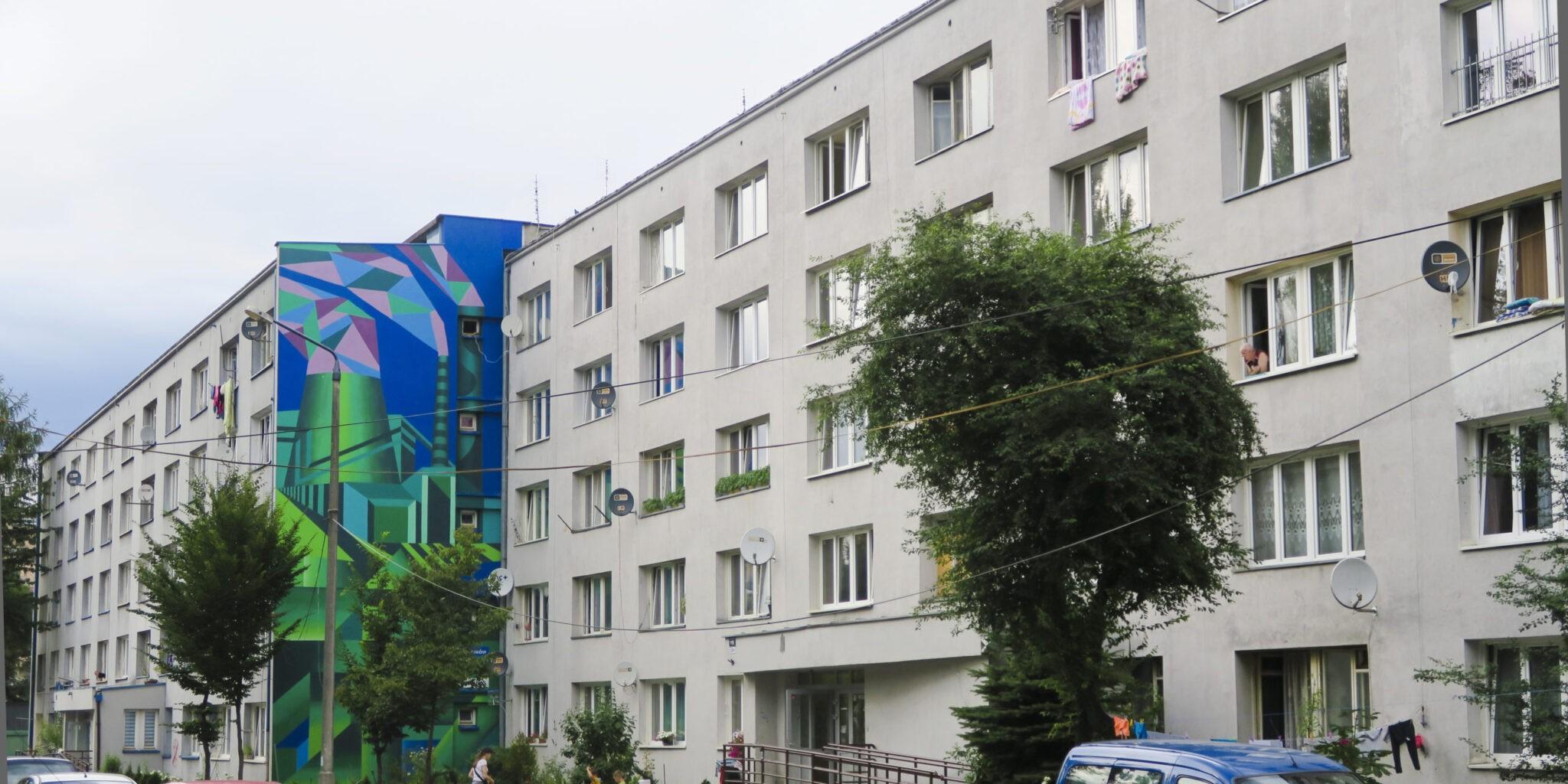 """muralu """"Kompozycja kubihutyczna"""" Dariusza Milczarka"""