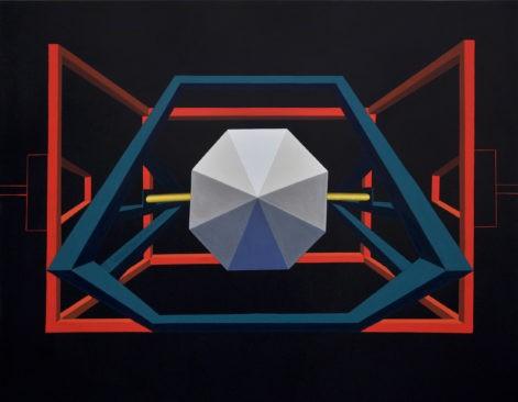 """Obraz """"Maszyna"""", tempera żółtkowa na płótnie, 130x200 cm, z cyklu """"mechanika pracy"""", abstrakcyjna maszyna, malarstwo współczesne, abstrakcja geometryczna"""