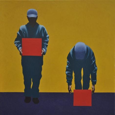 """Obraz """"Mechanika pracy"""", tempera żółtkowa na płótnie, 90x90 cm, z cyklu """"mechanika pracy"""""""