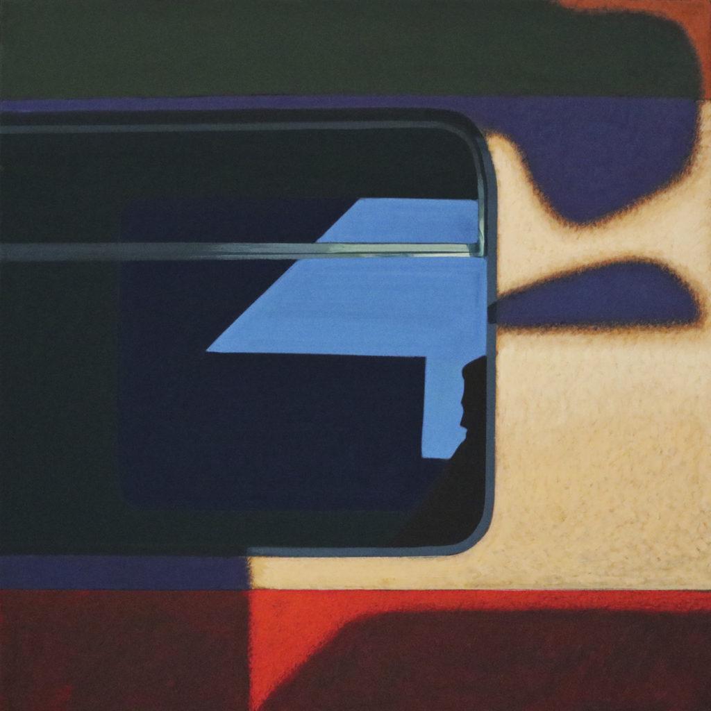 """Obraz """"Pomiędzy III"""", tempera żółtkowa na płótnie, 90x90 cm, abstrakcyjne cienie na oknie pociągu"""