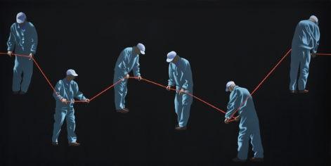 """Obraz """"w-poszukiwaniu-najprostszego-rozwiązania"""", tempera żółtkowa na płótnie, 150x150 cm, figuratywny obraz"""