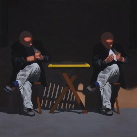 """Obraz """"Chwila przed, chwila po"""", z cyklu """"światłoczułe"""", mężczyzna przy kawiarnianym stoliku, multiplikacja"""