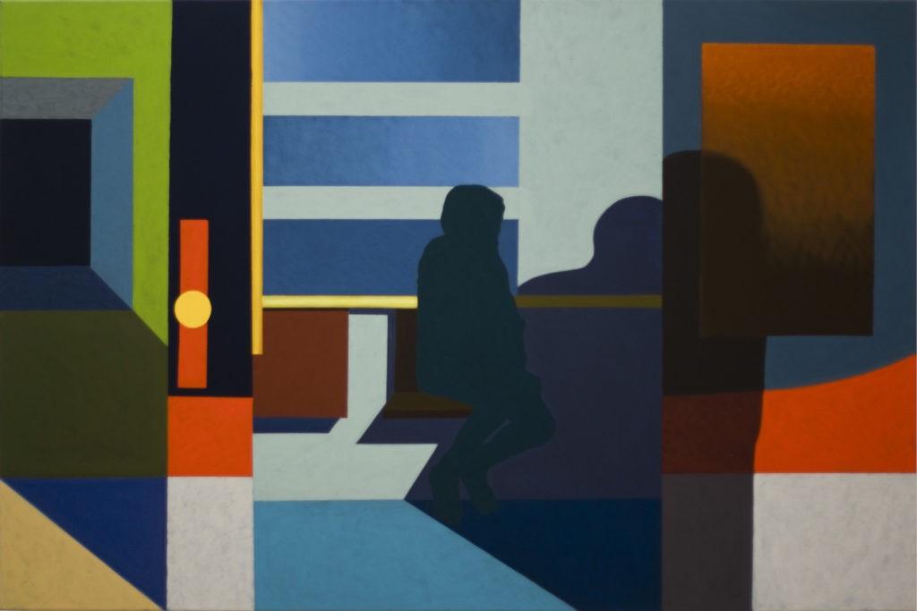 """Obraz """"Cień IV"""",abstrakcyjne cienie postaci na ścianie, z cyklu """"międzyprzestrzeń"""