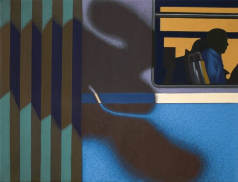 """Obraz """"Cień V"""", z cyklu """"międzyprzestrzeń"""", sylwetki ludzi we wnętrzu tramwaju"""