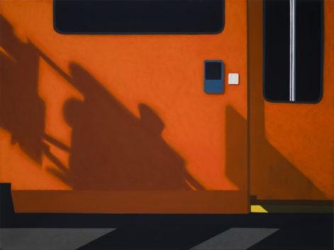 """Obraz """"Cień VIII"""", z cyklu """"międzyprzestrzeń"""", abstrakcyjne cienie na ścianie tramwaju, miasto"""