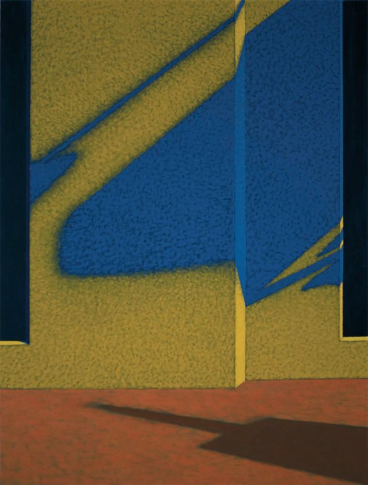 """Obraz """"Cień IX"""", z cyklu """"międzyprzestrzeń"""", abstrakcyjne cienie na ścianie, miasto"""