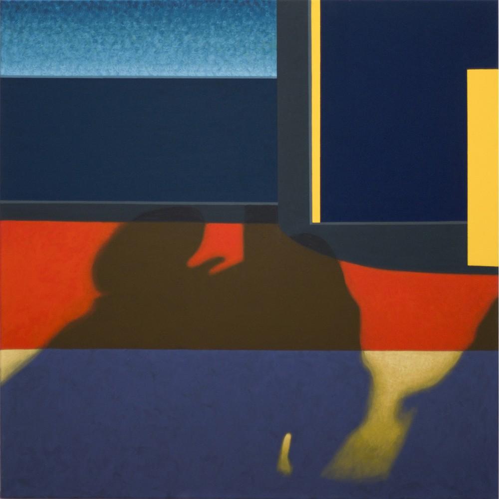 """Obraz """"Cień III"""", tempera żółtkowa na płótnie, 120x120 cm, abstrakcyjne cienie na oknie pociągu, z cyklu """"międzyprzestrzeń"""", abstrakcja geometryczna"""