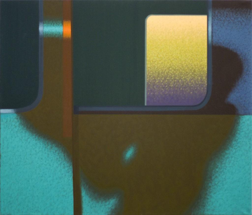 """Obraz """"Cień II"""", tempera żółtkowa na płótnie, 120x140 cm, abstrakcyjne cienie na oknie pociągu, z cyklu """"międzyprzestrzeń"""", abstrakcja geometryczna"""