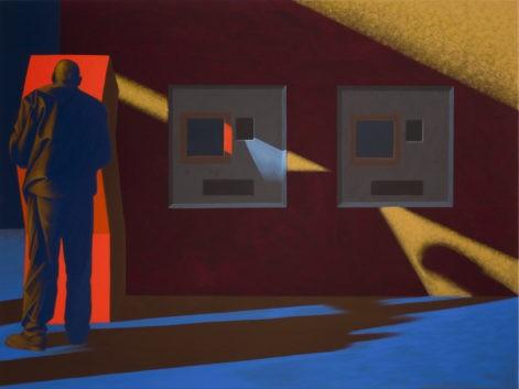 """Obraz """"Cień I"""", tempera żółtkowa na płótnie, 120x160 cm, z cyklu """"międzyprzestrzeń"""", abstrakcyjne cienie na ścianie, mężczyzna stojący tyłem"""