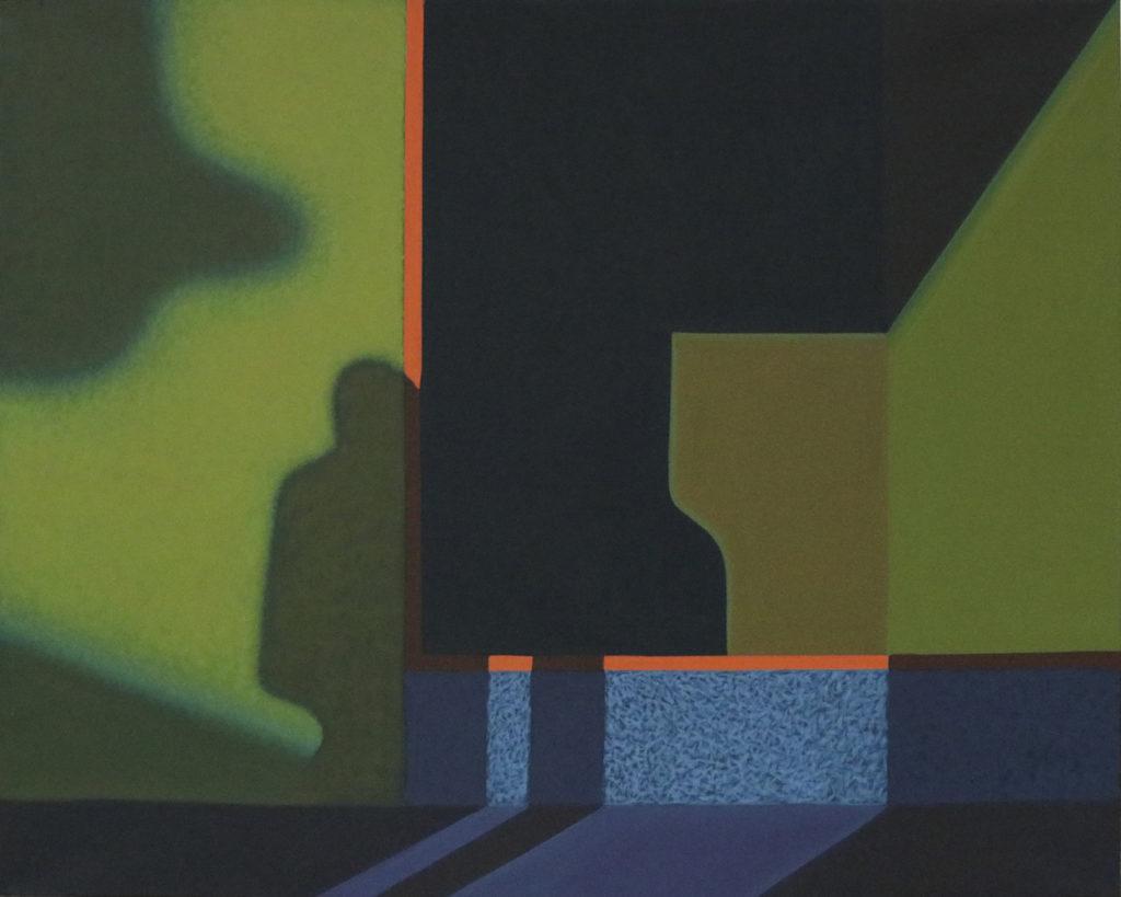 """Obraz """"Cień"""", tempera żółtkowa na płótnie, 120x150 cm, cień człowieka na zielonej ścianie, z cyklu """"międzyprzestrzeń"""", abstrakcja geometryczna"""