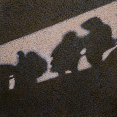 """Obraz """"Cienie"""", z cyklu """"międzyprzestrzeń"""", cienie postaci na ścianie"""