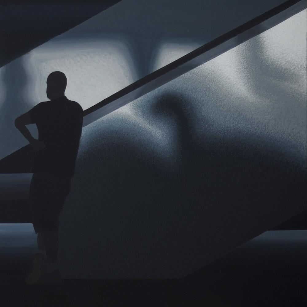 """Obraz """"Cisza"""", z cyklu """"światłoczułe"""", sylwetka człowieka w mocnym kontrastowym świetle, obraz figuratywny"""