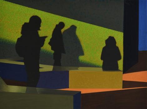 """Obraz """"Czekają"""", tempera żółtkowa na płótnie, 90x120 cm, sylwetki ludzi na tle zielonej ściany w poczekalni, z cyklu """"międzyprzestrzeń"""", obraz figuratywny"""