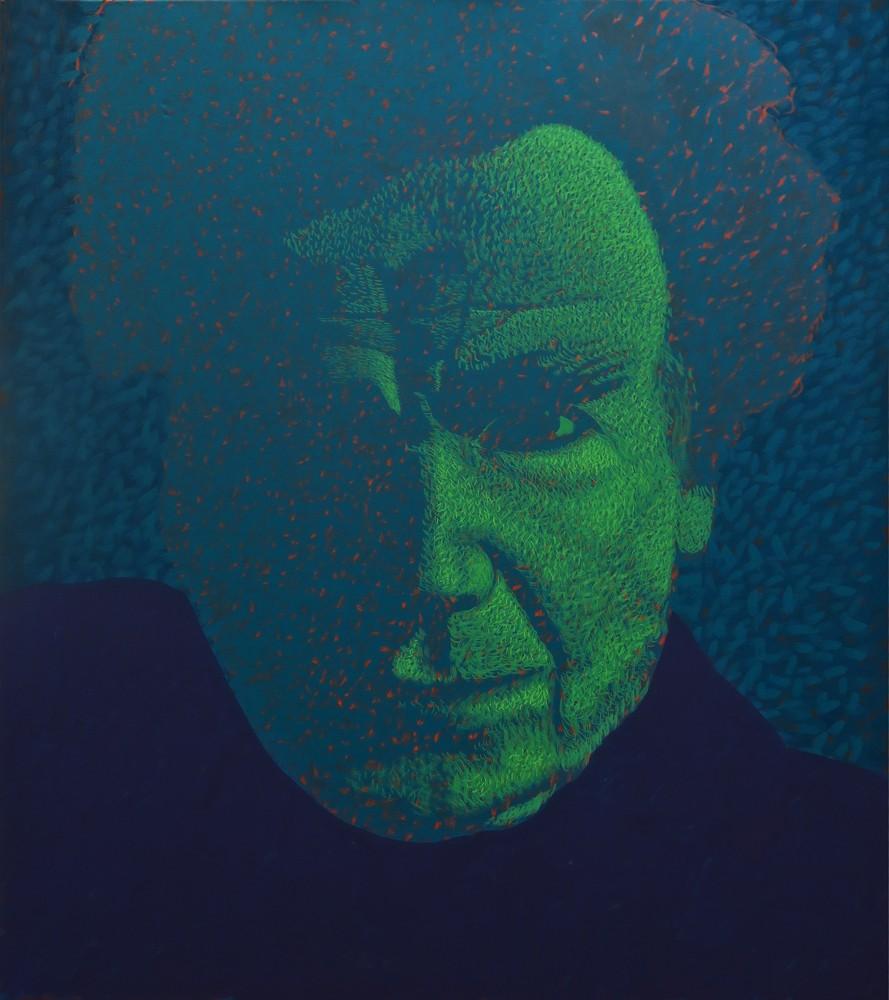 """Obraz """"E.Cioran"""", z cyklu """"portret"""", zanikający w cieniu portret Emil Ciorana, obraz figuratywny, portret"""