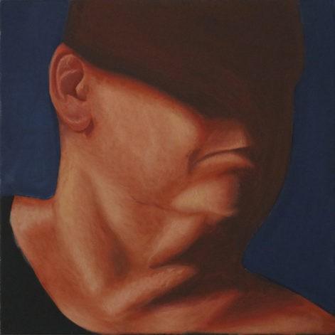 """Obraz """"Głowa w cieniu"""", z cyklu """"portret"""", zanikająca w cieniu głowa, obraz figuratywny, portret"""