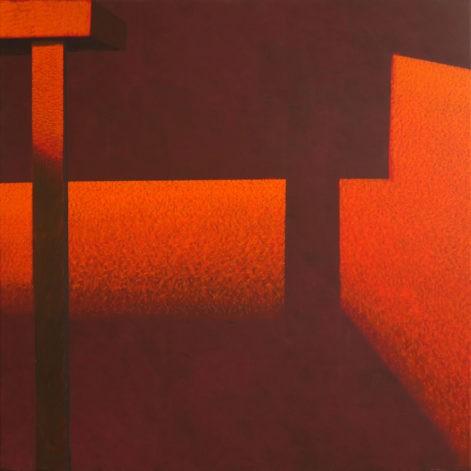 """Obraz """"Geometria światła III"""", z cyklu """"międzyprzestrzeń"""", abstrakcyjne cienie na ścianie, oraże"""