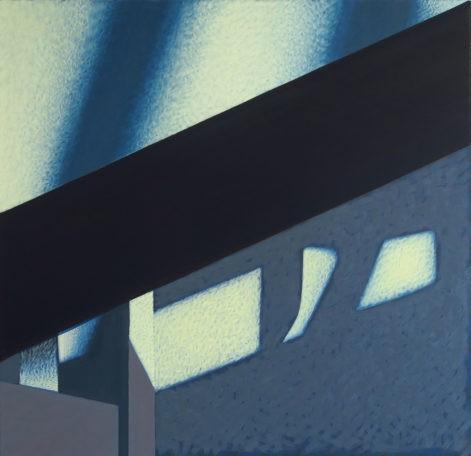 """Obraz """"Geometria światła I"""", abstrakcyjne cienie na ścianie, z cyklu """"międzyprzestrzeń"""", abstrakcja geometryczna"""