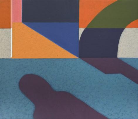 """Obraz """"Geometria światła IV"""", tempera żółtkowa na płótnie, 60x70 cm, cień człowieka na tle geometrycznych,, kolorowych podziałów, z cyklu """"międzyprzestrzeń"""", abstrakcja geometryczna"""