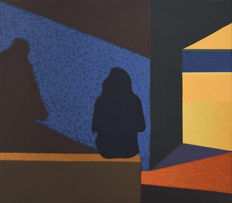 """Obraz """"Geometria światła VI"""", tempera żółtkowa na płótnie, 60x70 cm, sylwetki ludzi na tle niebieskiej ściany, z cyklu """"międzyprzestrzeń"""", obraz figuratywny, geometria"""