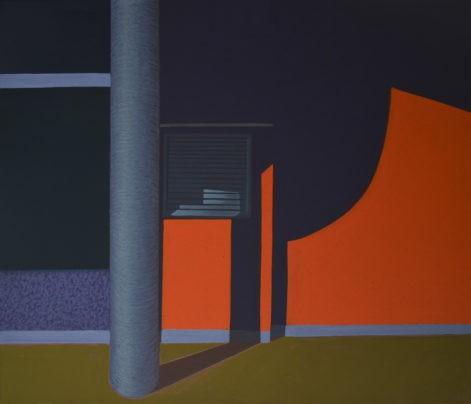 """Obraz """"Geometria światła V"""", tempera żółtkowa na płótnie, 60x70 cm, cienie na oranżowej ścianie, z cyklu """"międzyprzestrzeń"""", abstrakcja geometryczna"""