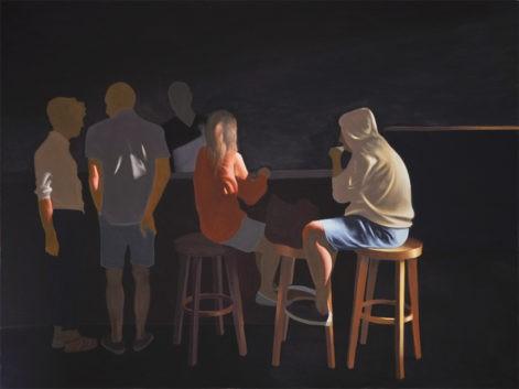 """Obraz """"Kawiarnia"""", obraz figuratywny, z cyklu """"światłoczułe"""", grupa ludzi w kawiarni w mocnym kontrastowym świetle,"""