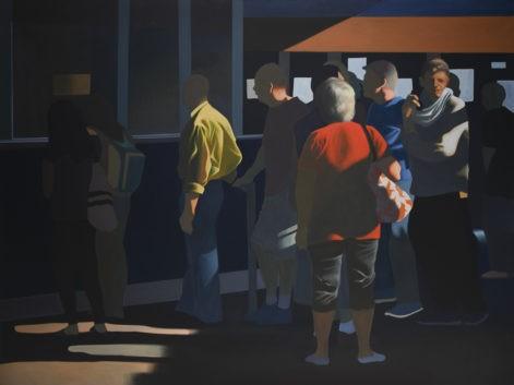 """Obraz """"Kolejka"""", obraz figuratywny, z cyklu """"światłoczułe"""", grupa ludzi w kolejce w mocnym kontrastowym świetle"""