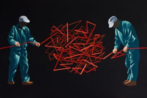 """Obraz """"Nierozwiązywalne"""", tempera żółtkowa na płótnie, 60x90 cm, z cyklu """"mechanika pracy"""""""