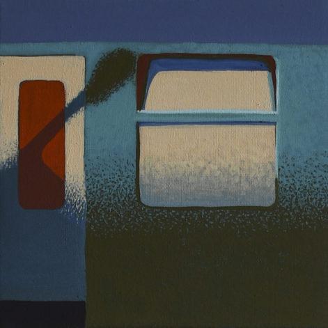 """Obraz """"Pociąg"""", z cyklu """"międzyprzestrzeń"""", cień lampy na tramwaju"""