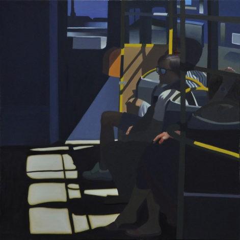 """Obraz """"Początek drogi"""", z cyklu """"światłoczułe"""", ludzie w tramwaju"""