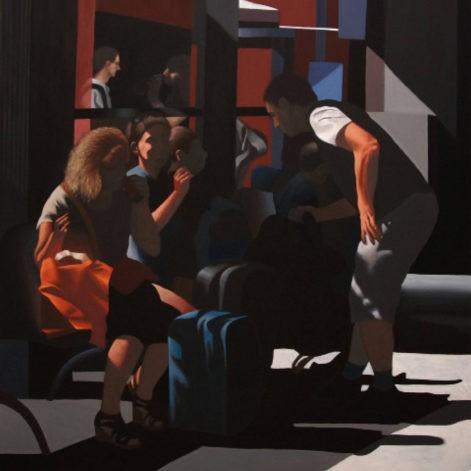 """Obraz """"Poczekalnia"""", z cyklu """"światłoczułe"""", ludzie w poczekalni w mocnym kontrastowym świetle"""