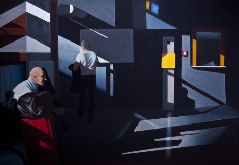 """Obraz """"Poczekalnia I"""", z cyklu """"światłoczułe"""", ludzie w poczekalni w mocnym kontrastowym świetle, obraz figuratywny"""