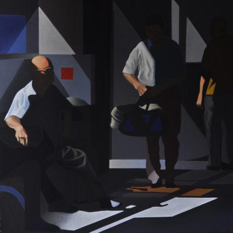 """Obraz """"Poczekalnia II"""", z cyklu """"światłoczułe"""", ludzie w poczekalni w mocnym kontrastowym świetle, obraz figuratywny"""