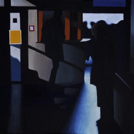"""Obraz """"Poczekalnia III"""", z cyklu """"światłoczułe"""", ludzie w poczekalni w mocnym kontrastowym świetle, obraz figuratywny"""