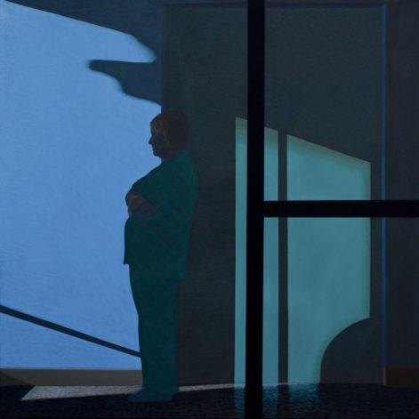 """Obraz """"Poczekalnia IV"""", z cyklu """"światłoczułe"""", ludzie w poczekalni w mocnym kontrastowym świetle, obraz figuratywny"""