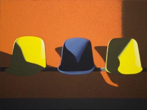 """Obraz """"Poczekalnia V"""", z cyklu """"światłoczułe"""", krzesła w poczekalni w mocnym kontrastowym świetle, obraz figuratywny"""