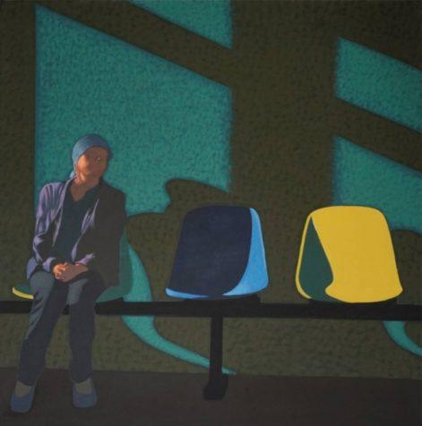 """Obraz """"Poczekalnia VI"""", z cyklu """"światłoczułe"""", postać kobiety w poczekalni w mocnym kontrastowym świetle, obraz figuratywny"""