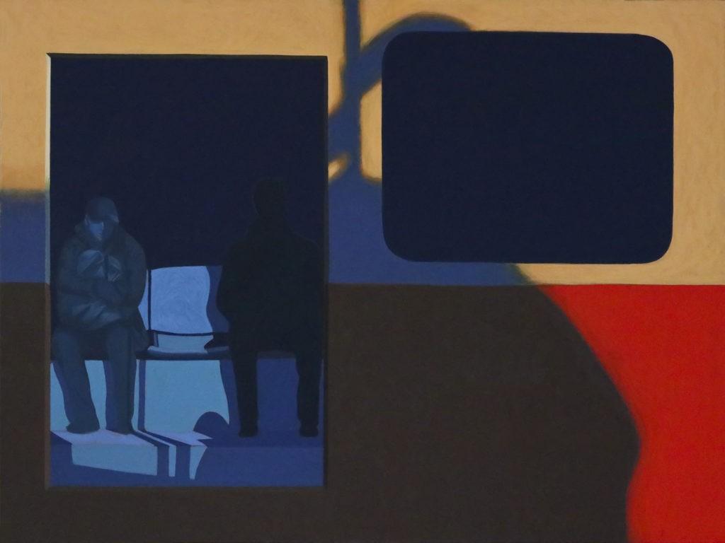 """Obraz """"Pomiędzy II"""", tempera żółtkowa na płótnie, 120x160 cm, z cyklu """"międzyprzestrzeń"""", sylwetki ludzi we wnętrzu tramwaju, abstrakcyjne cienie, obraz figuratywny"""