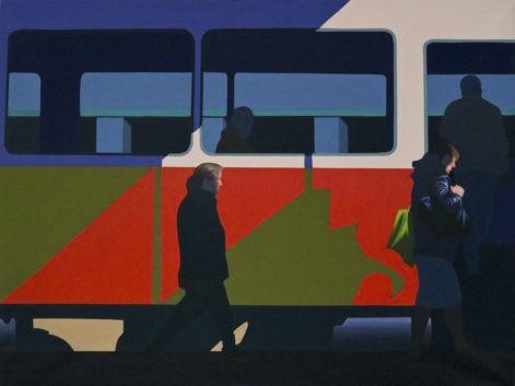 """Obraz """"Pomiędzy"""", tempera żółtkowa na płótnie, z cyklu """"międzyprzestrzeń"""", ludzie wsiadający do pociągu, obraz figuratywny"""