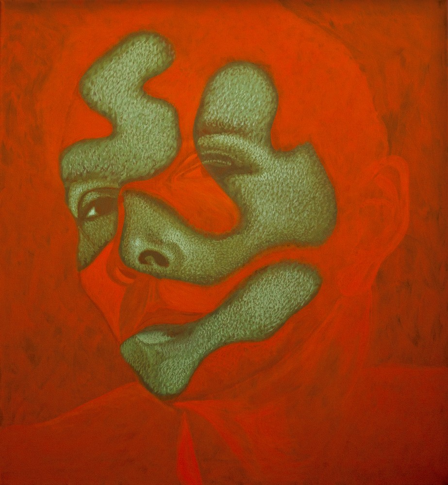 """Obraz """"Portret II"""", z cyklu """"portret"""", Twarz kobiety w mocnym kontrastowym świetle, obraz figuratywny"""