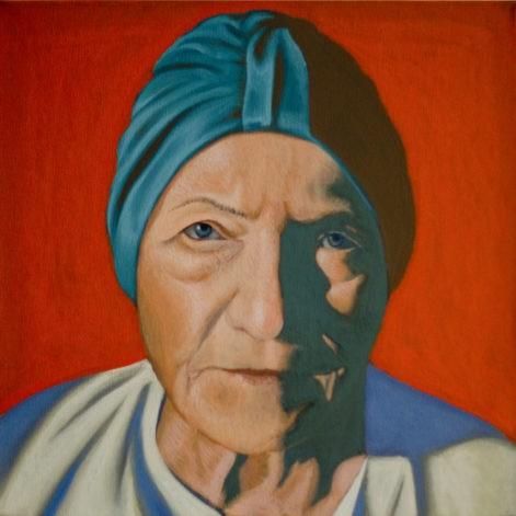 """Obraz """"Portret Matki"""", z cyklu """"portret"""". Twarz matki na czerwonym tle, obraz figuratywny"""