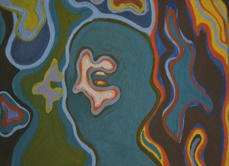 """Obraz """"Powidoki"""", z cyklu """"portret"""". Twarz ukryta pośród abstrakcyjnych form geometrycznych"""