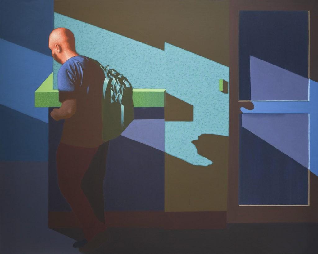"""Obraz """"Przechodzień II"""", tempera żółtkowa na płótnie, z cyklu """"międzyprzestrzeń"""", człowiek w mocnym kontrastowym świetle, figuracja"""