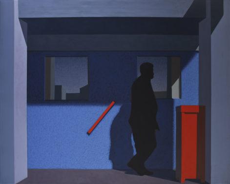 """Obraz """"Przechodzień"""", tempera żółtkowa na płótnie, z cyklu """"międzyprzestrzeń"""", sylwetka człowieka w mocnym kontrastowym świetle"""