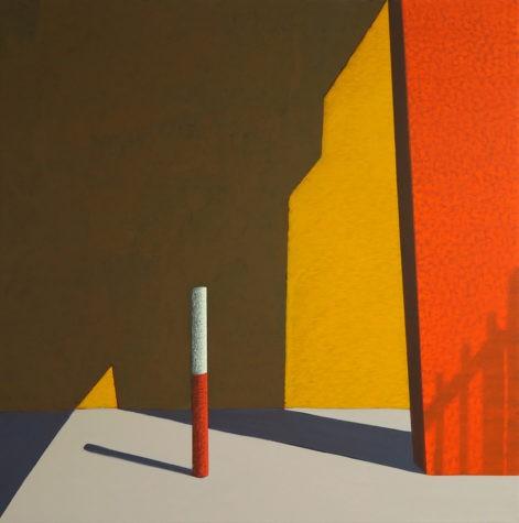 """Obraz """"Przejście"""", abstrakcyjne cienie na oranżowej ścianie, z cyklu """"międzyprzestrzeń"""""""