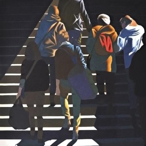 """Obraz """"Schody"""", temepra żółtkowa na płótnie, 150x150, pejaż miejski"""