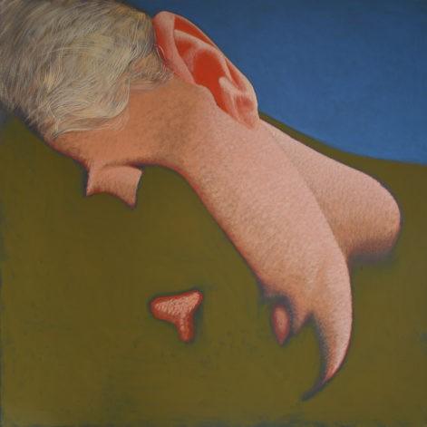 """Obraz """"Sen"""", z cyklu """"portret"""", Twarz śpiącej kobiety zatopiona w cieniu, obraz figuratywny"""