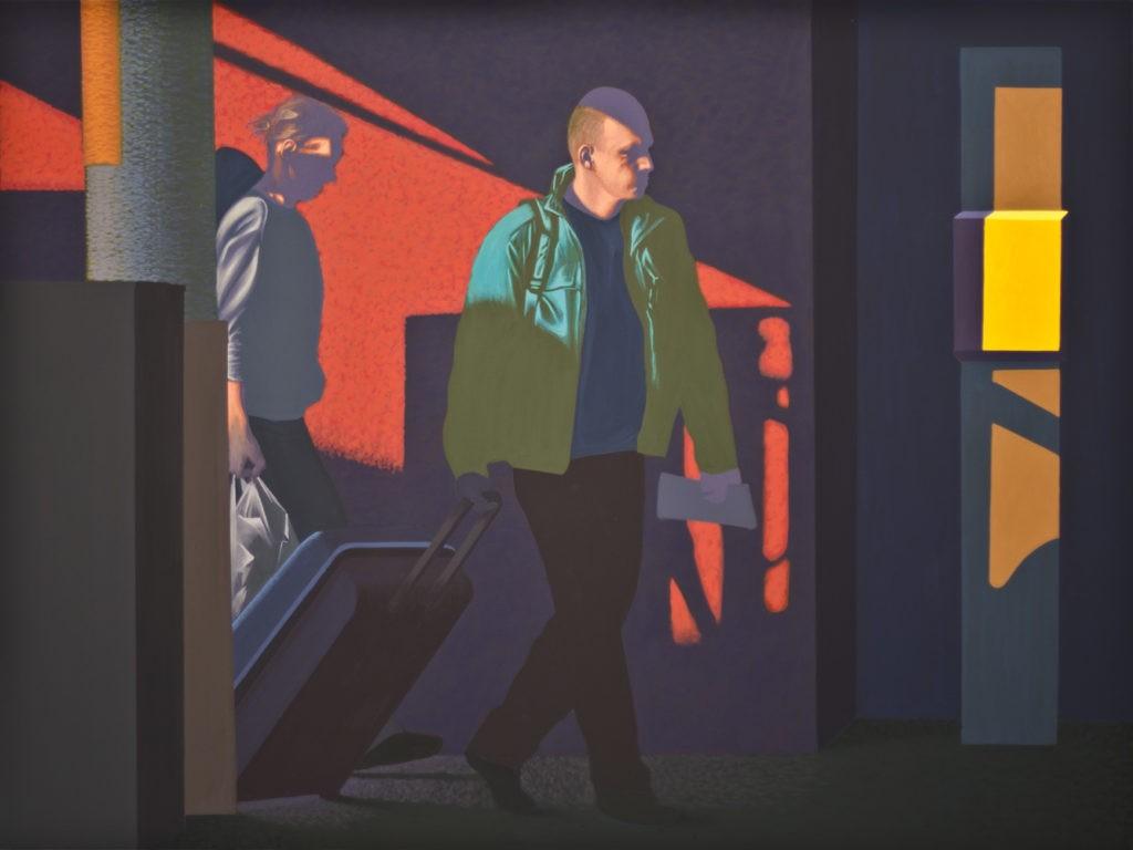 """Obraz """"Skąd-dokąd"""", z cyklu """"światłoczułe"""", obraz figuratywny, człowiek idący z walizką w mocnym kontrastowym świetle"""