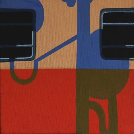 """Obraz """"Tramwaj"""", z cyklu """"międzyprzestrzeń"""", niebieskie cienie na oranżowym tramwaju"""
