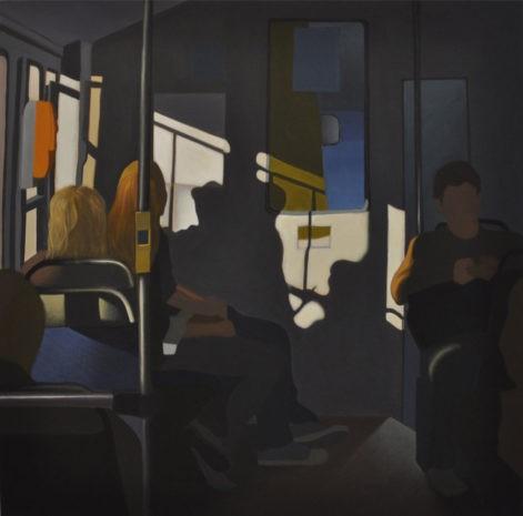 """Obraz """"W tramwaju I"""", ludzie w tramwaju, wpadające przez okno światło"""